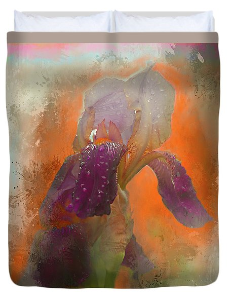 Duvet Cover featuring the digital art Iris Resubmit by Jeff Burgess