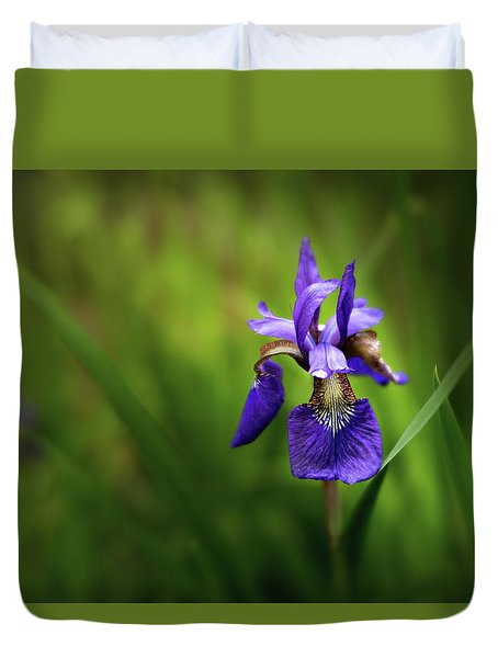 Duvet Cover featuring the photograph Iris Spotlight by Mary Jo Allen