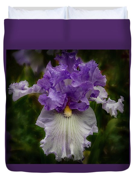 Duvet Cover featuring the photograph Iris Standout by Jean Noren