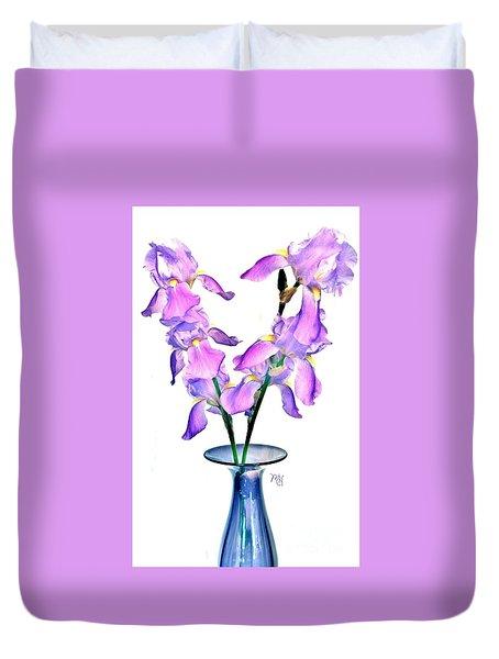 Iris Still Life In A Vase Duvet Cover by Marsha Heiken