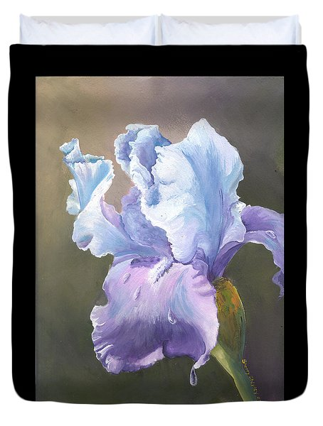 Duvet Cover featuring the painting Iris Tears by Sherry Shipley