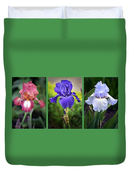 Iris Triptych. Duvet Cover by Terence Davis