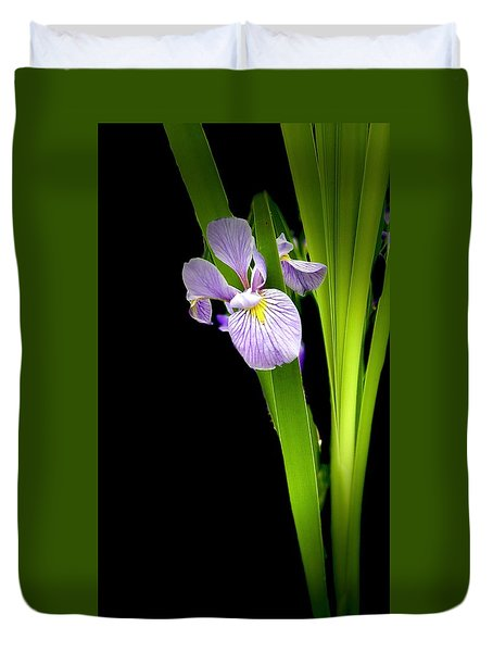 Duvet Cover featuring the photograph Iris Via Iphone by Onyonet  Photo Studios