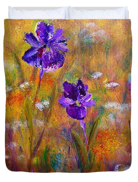 Iris Wildflowers And Butterfly Duvet Cover