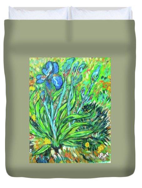 Irises Ala Van Gogh Duvet Cover by Carolyn Donnell