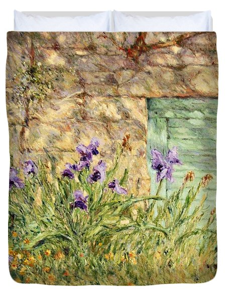 Irises At The Old Barn Duvet Cover