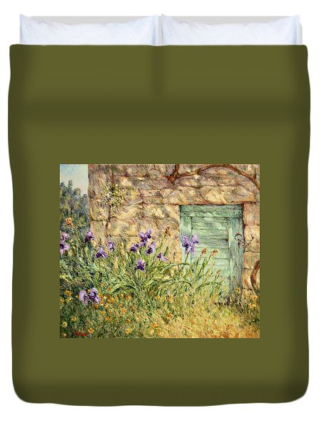 Irises At The Old Barn Duvet Cover