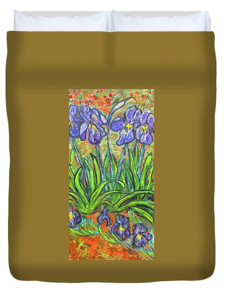Irises In A Sunny Garden Duvet Cover by Carolyn Donnell