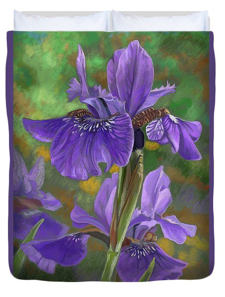 Irises Duvet Cover by Lucie Bilodeau