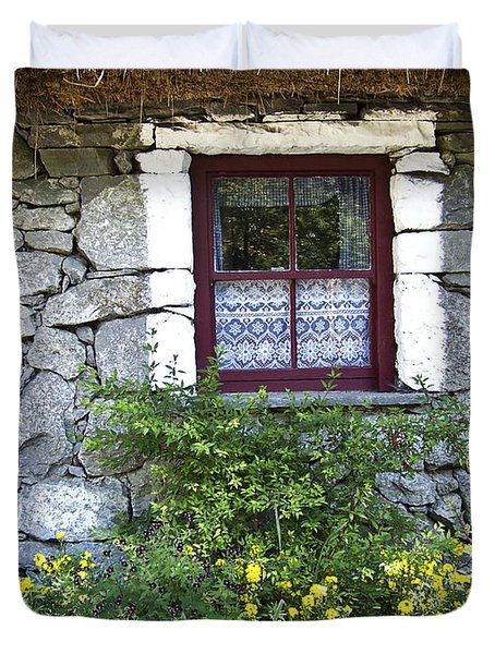 Irish Cottage Window County Clare Ireland Duvet Cover by Teresa Mucha