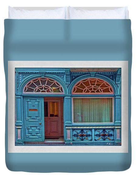 Duvet Cover featuring the digital art Irish Door by Hanny Heim