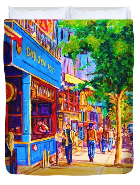 Duvet Cover featuring the painting Irish Pub On Crescent Street by Carole Spandau