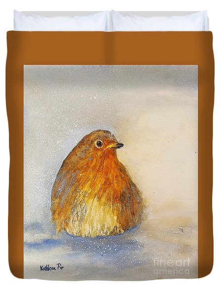 Irish Robin In The Snow Duvet Cover