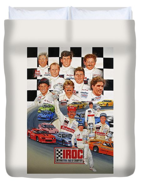 Duvet Cover featuring the painting Iroc Racing by Cliff Spohn