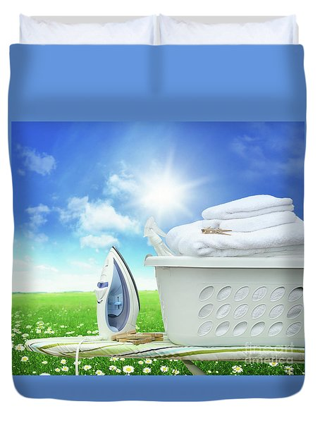Iron Board And Iron With Basket In Field Of Daisies Duvet Cover