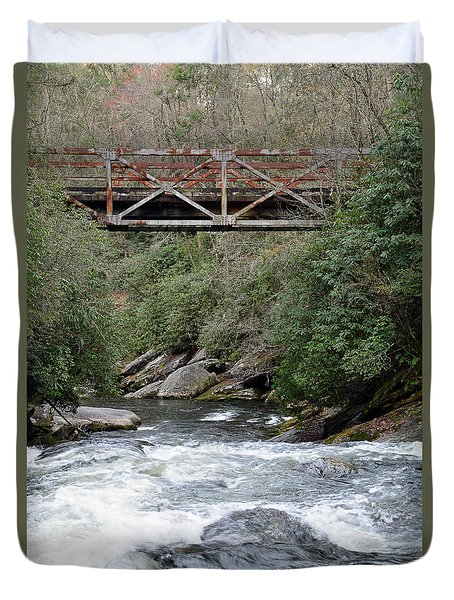 Iron Bridge Over Chattooga River Duvet Cover by Bruce Gourley