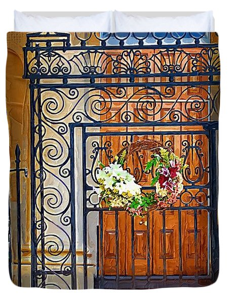 Duvet Cover featuring the photograph Iron Gate by Donna Bentley