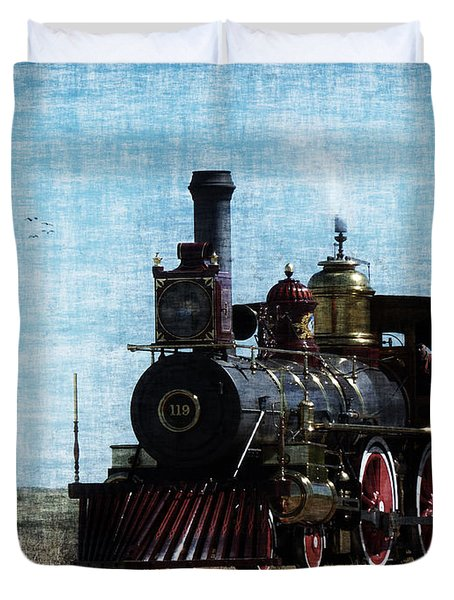Iron Horse Invades The Plains Duvet Cover by Lianne Schneider