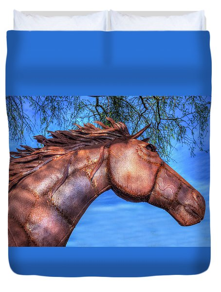 Duvet Cover featuring the photograph Iron Horse by Paul Wear