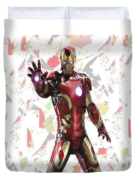 Duvet Cover featuring the mixed media Iron Man Splash Super Hero Series by Movie Poster Prints
