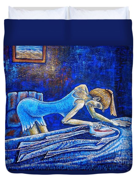 Duvet Cover featuring the painting Ironing by Viktor Lazarev