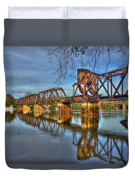 Ironman Reflections 6th Street Trestle Bridge Augusta Georgia Art Duvet Cover