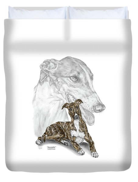 Irresistible - Greyhound Dog Print Color Tinted Duvet Cover by Kelli Swan