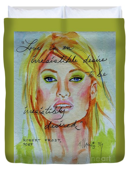 Duvet Cover featuring the painting Irresistible by P J Lewis