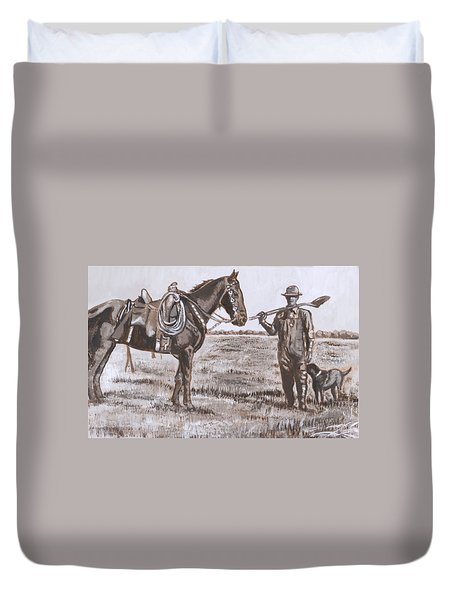 Irrigating The Hay Meadows Historical Vignette Duvet Cover
