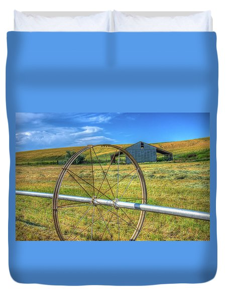 Irrigation Water Wheel Hdr Duvet Cover by James Hammond