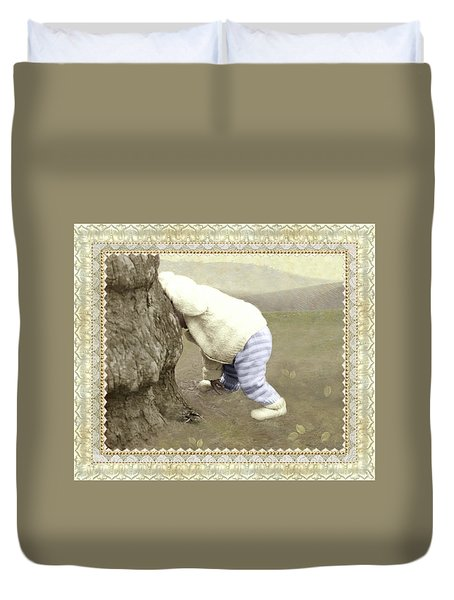 Is Bunny Behind Tree? Duvet Cover