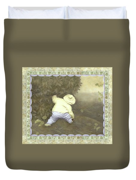 Is Bunny In Bushes? Duvet Cover