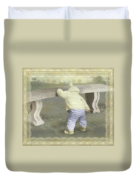 Is Bunny Under The Bench? Duvet Cover