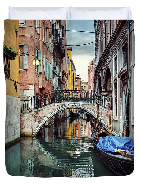 Gondola Parked On Lonely Water Canal In Venice, Italy Duvet Cover