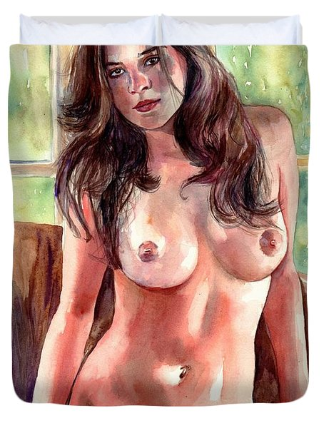 Isabella Nude Lady Portrait Duvet Cover