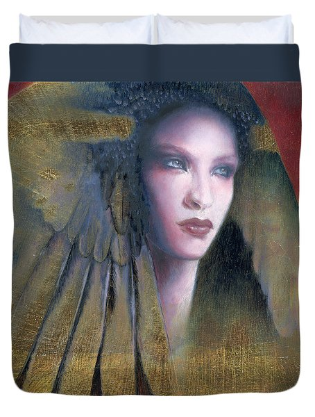 Duvet Cover featuring the painting Isis by Ragen Mendenhall