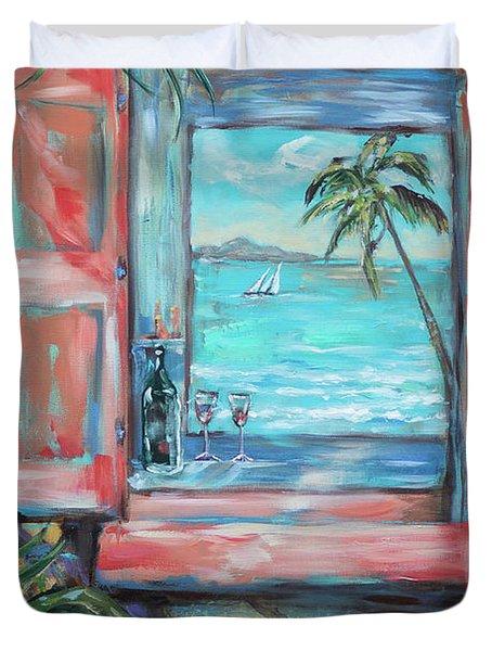 Island Bar Coral Duvet Cover