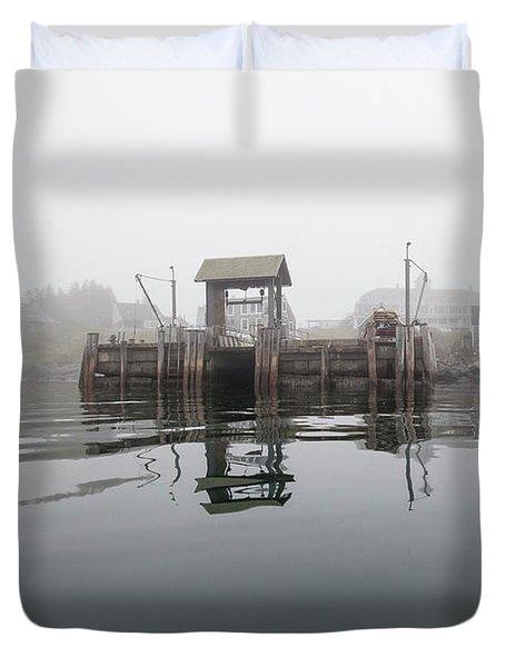 Island Boat Dock Duvet Cover