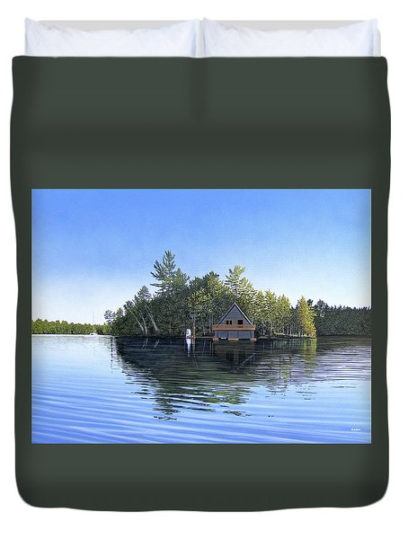 Duvet Cover featuring the painting Island Boathouse Muskoka  by Kenneth M Kirsch