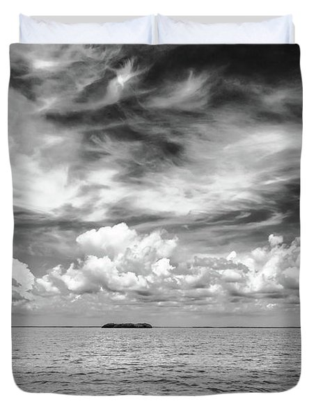 Island, Clouds, Sky, Water Duvet Cover