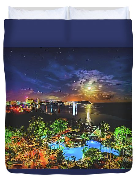 Duvet Cover featuring the digital art Island Dream by Ray Shiu
