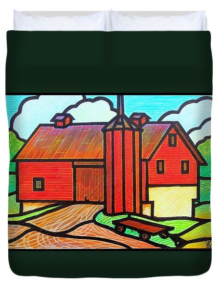 Duvet Cover featuring the painting Island Ford Barn 2 by Jim Harris