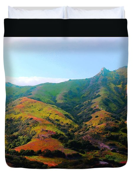 Duvet Cover featuring the photograph Island Hills by Timothy Bulone
