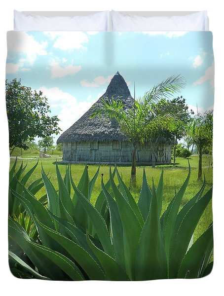 Duvet Cover featuring the photograph Island Hut And Scenery by Francesca Mackenney