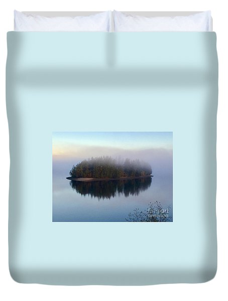 Island In The Autumn Mist Duvet Cover