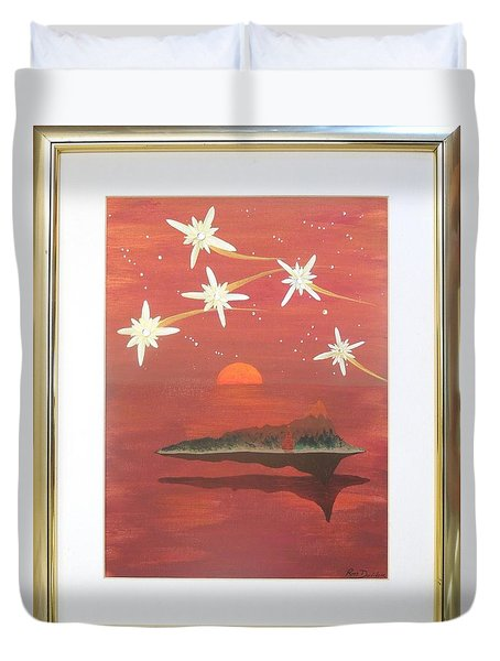 Duvet Cover featuring the painting Island In The Sky With Diamonds by Ron Davidson