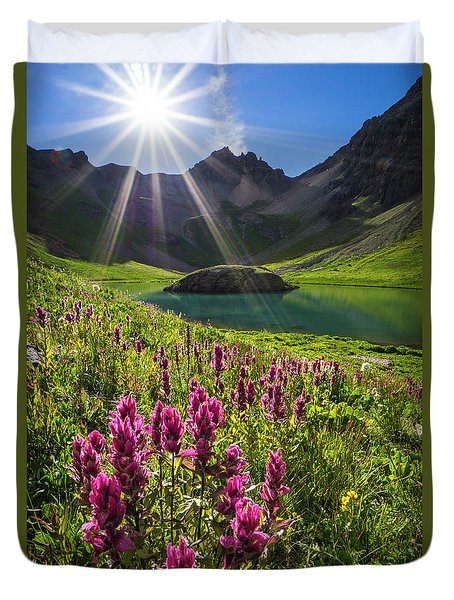 Island Lake Flowers Duvet Cover