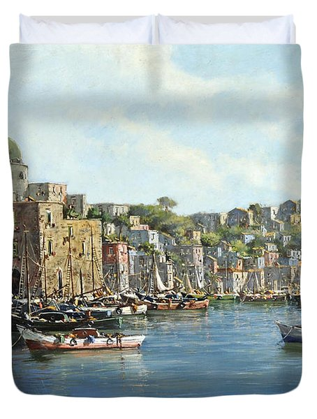 Island Of Procida - Italy- Harbor With Boats Duvet Cover