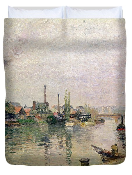 Island Of The Cross At Rouen Duvet Cover by Camille Pissarro