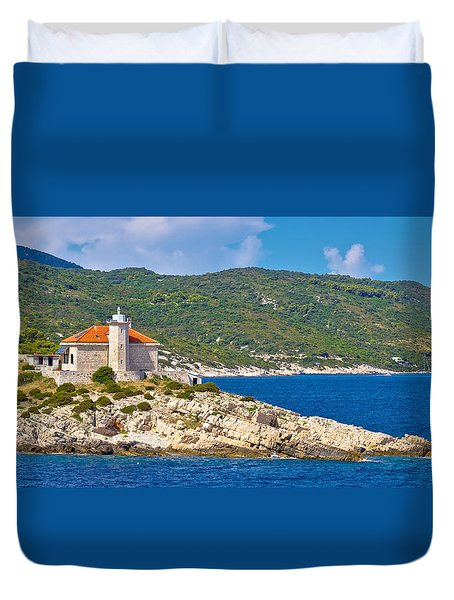 Island Of Vis Lighthouse Panoramic Duvet Cover by Brch Photography